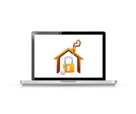 laptop and home security illustration design over a white background Stock Vector - 21942373