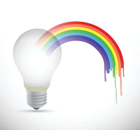 think out of box: lightbulb and rainbow illustration design over a white background