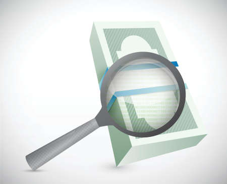 magnify and search for money. illustration design over white Vector