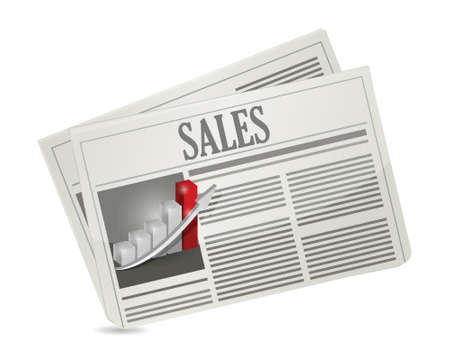 business sales newspaper illustration design over a white background Ilustração