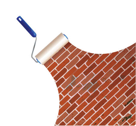 painting a brick wall illustration design over a white background Stock Vector - 21942390