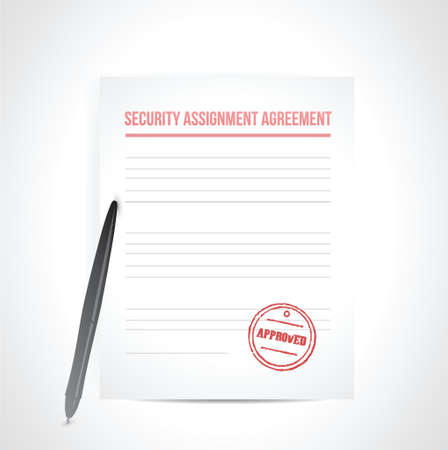 security assignment agreement illustration design over white Vector