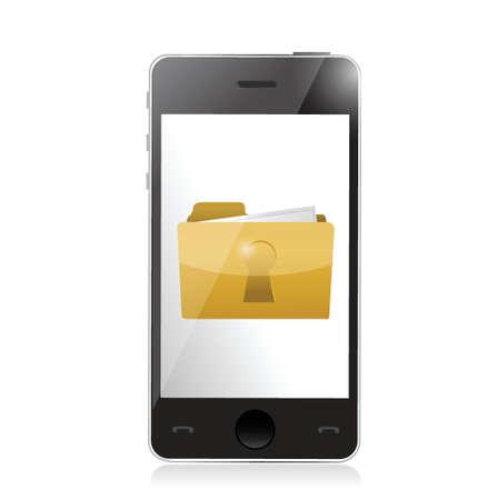 secured: phone and secured folder illustration design over white