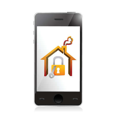 smartphone and home security concept illustration design over white Stock Vector - 21942398