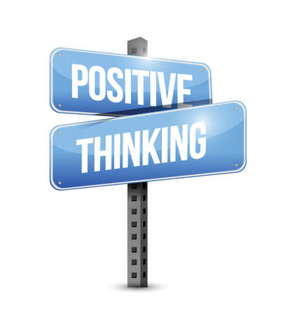 positive thinking road sign over a white background Stock Vector - 21942400