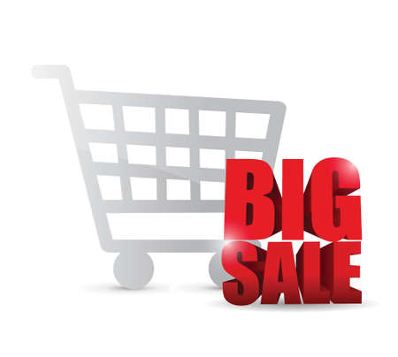 shopping cart and big sale text sign illustration design over a white background 向量圖像