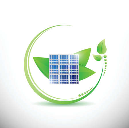 solar collector: solar panel and stylish leaves. illustration design over white
