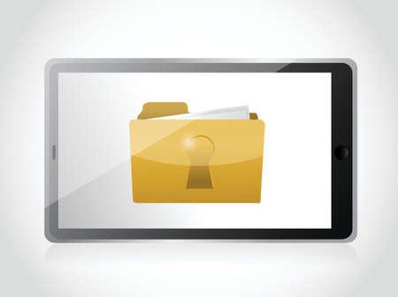 secured: tablet and secured folder illustration design over a white background