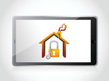 tablet and home security concept illustration design over white Stock Vector - 21942408