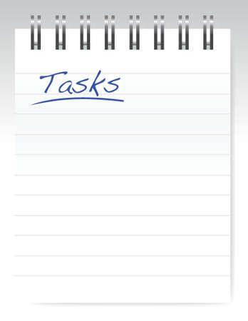 tasks notepad illustration design over a white background
