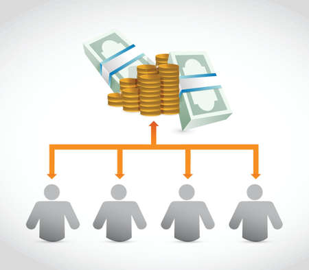 wealthy man: working for the money concept diagram illustration design
