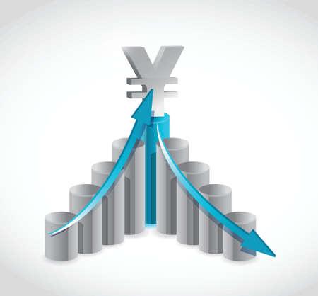 business yen graph illustration design over a white background Иллюстрация