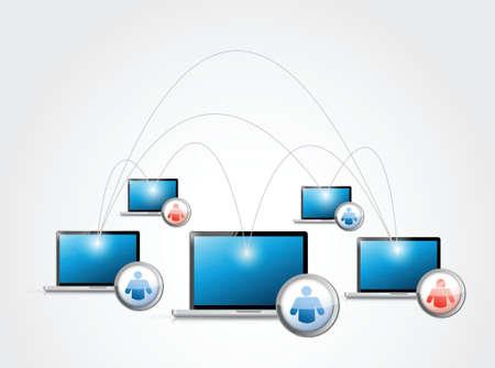 social media network laptop connection illustration design Vector
