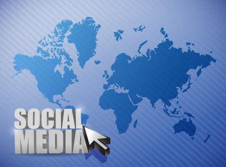 social media connections illustration design over a world map illustration