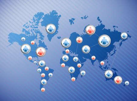 social media connections illustration design over a world map Stock Illustration - 21942456