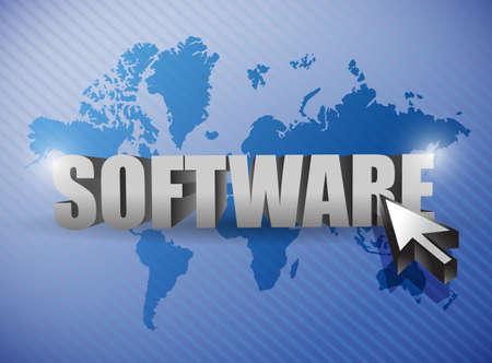 Software and cursor illustration design over a world map stock photo illustration software and cursor illustration design over a world map gumiabroncs Images