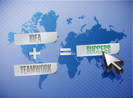 idea plus teamwork equals success concept illustration design