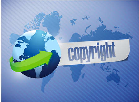 plagiarism: copyright globe concept illustration design over a world map background Stock Photo