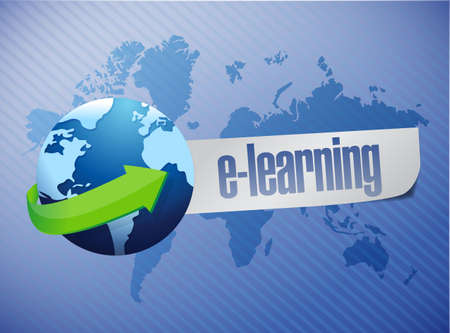 virtual classroom: e learning globe concept illustration design over a world map background