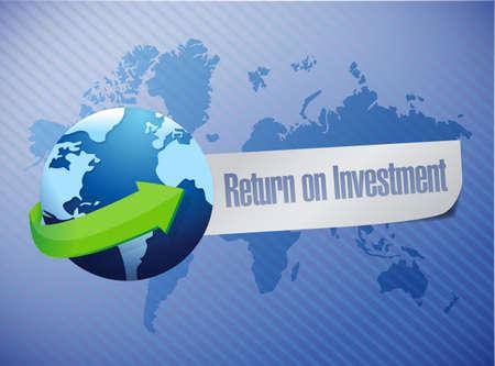 ROI return on investment globe concept illustration design over a world map background