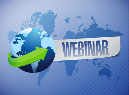virtual classroom: webinar globe concept illustration design over a world map background