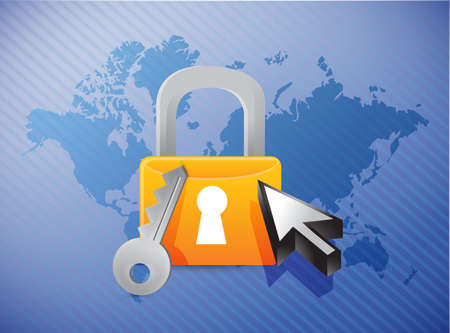 lock security concept and world map illustration design illustration