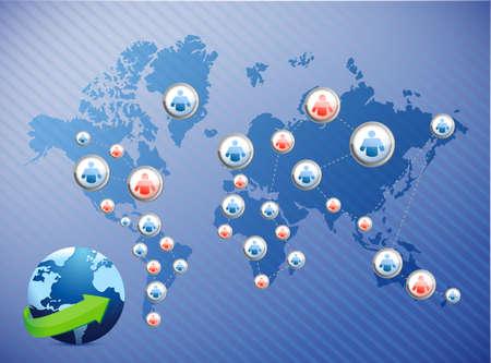 international social media network. illustration design over a world map