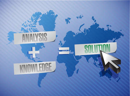 analysis plus knowledge equal solutions. illustration design over a blue background illustration