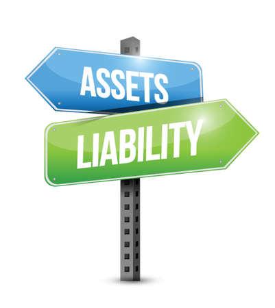 obligaciones: activos responsabilidad carretera signo ilustraci�n, dise�o sobre un fondo blanco