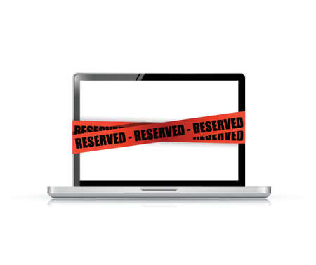 laptop with a reserved red tape illustration design over white Stock Vector - 21970052