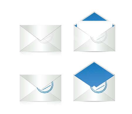 sobres de carta: conjunto de sobres. Ilustración de diseño sobre un fondo blanco