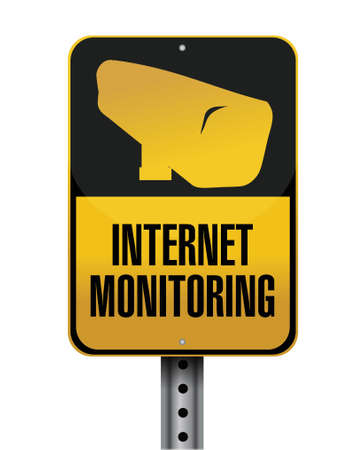 internet monitoring road sign illustration design over a white background