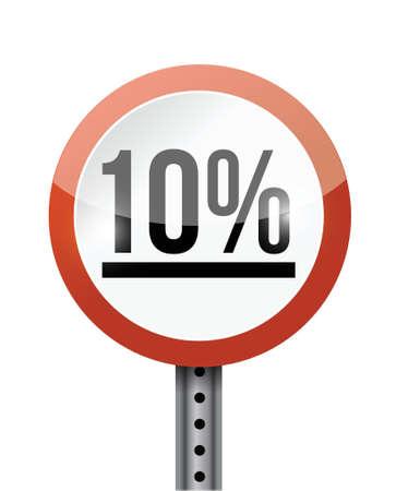 10 percentage road sign illustration design over a white background Stock Vector - 22035830