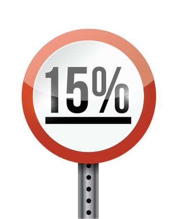 15 percentage road sign illustration design over a white background Stock Vector - 21970051