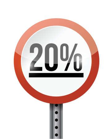 20 percentage road sign illustration design over a white background