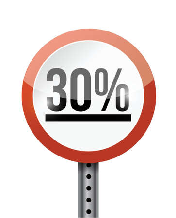 30 percentage road sign illustration design over a white background Stock Vector - 21970055