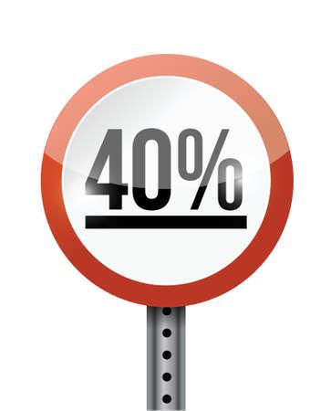 40: 40 percentage road sign illustration design over a white background
