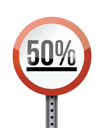 50 percentage road sign illustration design over a white background