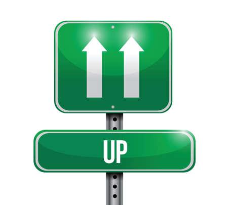 up road sign illustration design over a white background