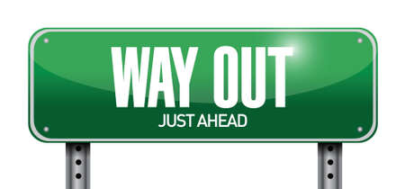 way out: way out road sign illustration design over a white background
