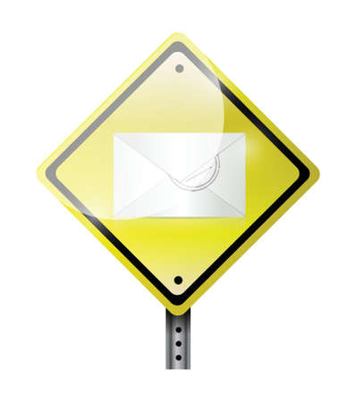 webmail: envelope road sign illustration design over a white background Illustration