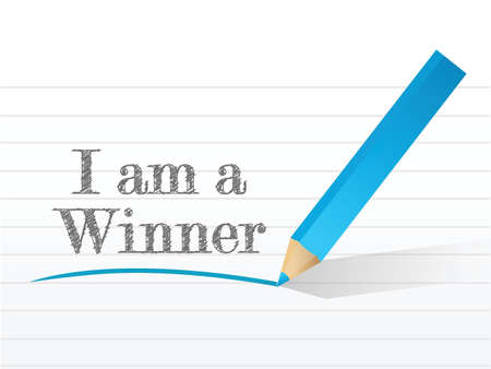 i am a winner message written on a white notepaper Vector