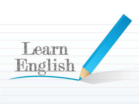 learn english illustration design over a white background