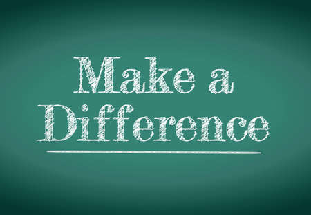 change concept: make a difference message written on a blackboard Illustration