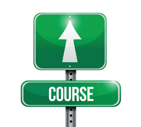 course development: course road sign illustration design over a white background Illustration
