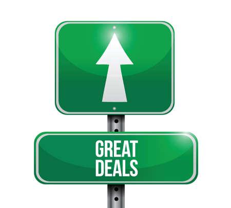 discount banner: great deals road sign illustration design over a white background Illustration