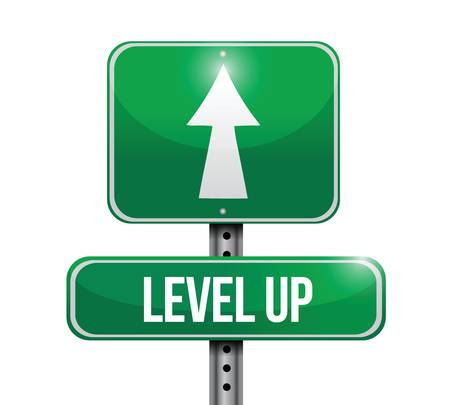 level up road sign illustration design over a white background