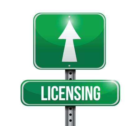 plagiarism: licensing road sign illustration design over a white background