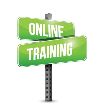 online training road sign illustration design over a white background Illustration