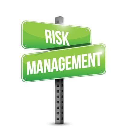 risico analyse: risicobeheer verkeersbord illustratie ontwerp op een witte achtergrond